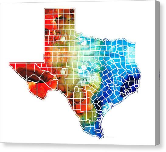 Rio Grande Canvas Print - Texas Map - Counties By Sharon Cummings by Sharon Cummings