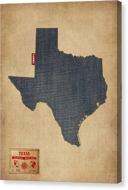 Austin Canvas Print - Texas Map Denim Jeans Style by Michael Tompsett