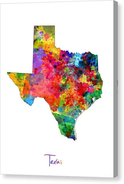 Texas A Canvas Print - Texas Map by Michael Tompsett