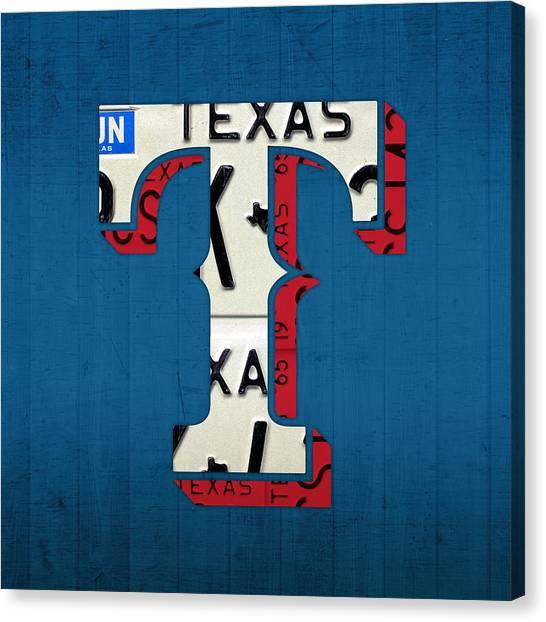 Texas Rangers Canvas Print - Texas Rangers Baseball Team Vintage Logo Recycled License Plate Art by Design Turnpike