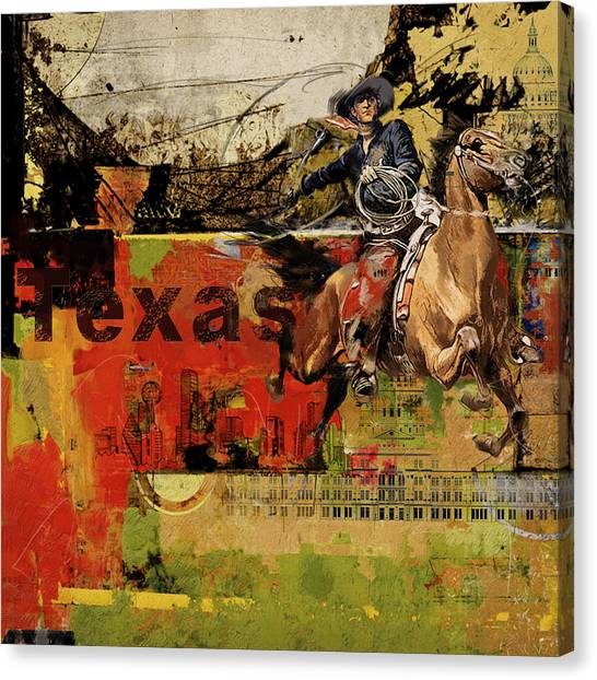 University Of Chicago Canvas Print - Texas Rodeo by Corporate Art Task Force