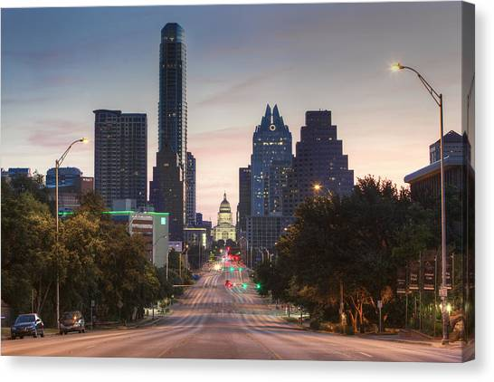 Austin Texas Canvas Print - The Austin Skyline And Texas State Capitol From Congress 1 by Rob Greebon
