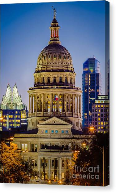 Austin Texas Canvas Print - Texas State Capitol By Night by Inge Johnsson