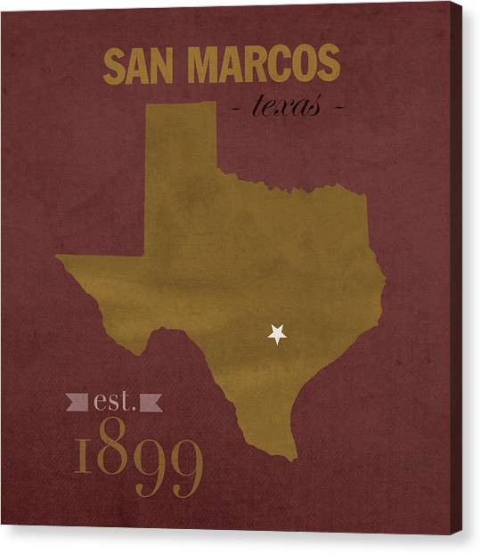 Sun Belt Canvas Print - Texas State University Bobcats San Marcos College Town State Map Pillow by Design Turnpike