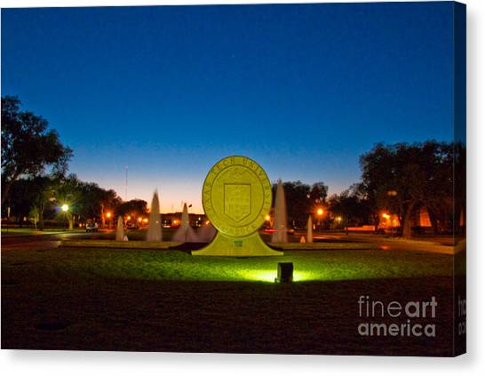 Canvas Print featuring the photograph Texas Tech Seal At Night by Mae Wertz