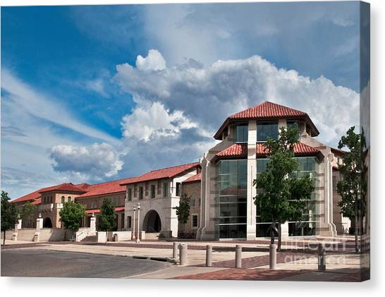 Canvas Print featuring the photograph Texas Tech Student Union by Mae Wertz