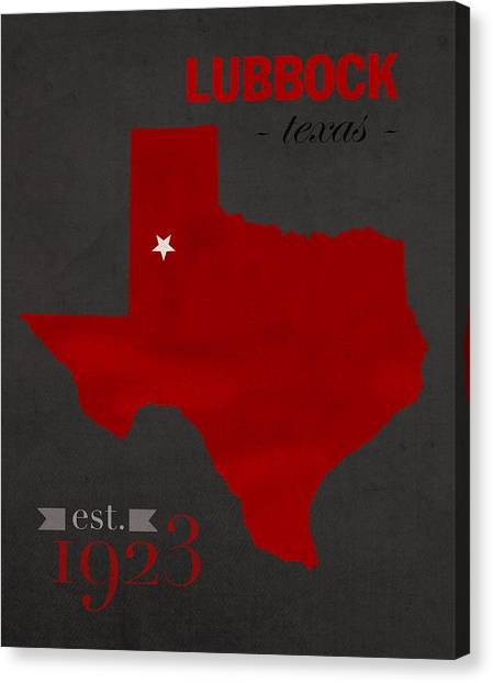 Big Xii Canvas Print - Texas Tech University Red Raiders Lubbock College Town State Map Poster Series No 109 by Design Turnpike