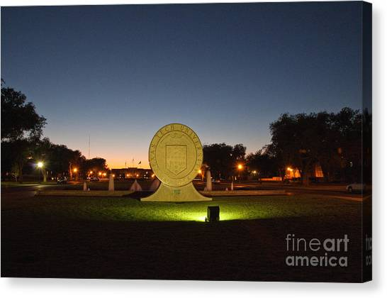 Texas Tech University Seal At Sundown Second Image Canvas Print by Mae Wertz