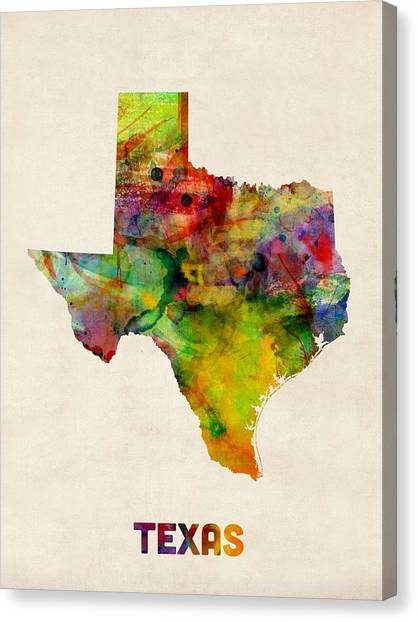 Austin Canvas Print - Texas Watercolor Map by Michael Tompsett