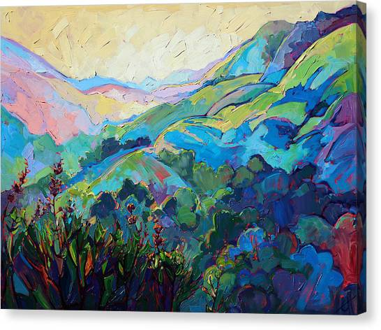 Wine Country Canvas Print - Textured Light by Erin Hanson
