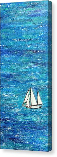 Textured Sea With Sailboat Canvas Print by Lauretta Curtis