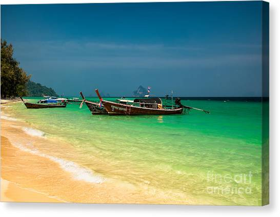 South Asia Canvas Print - Thai Longboats by Adrian Evans