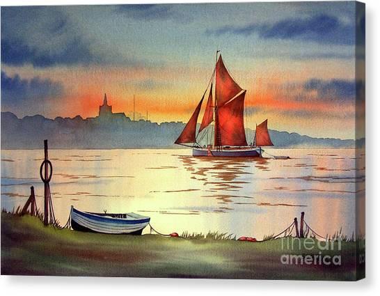 Thames Barge At Maldon Essex Canvas Print
