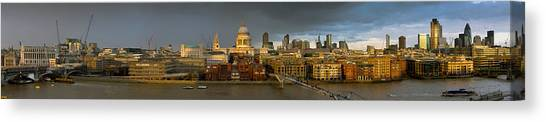 Thames With St Paul's Panorama Canvas Print