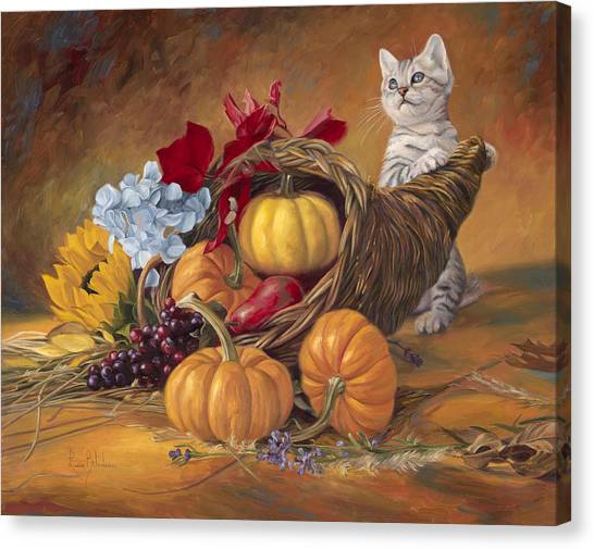 Pumpkins Canvas Print - Thankful by Lucie Bilodeau