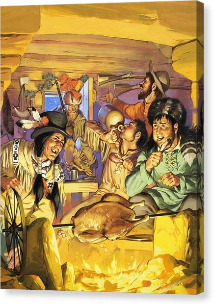 Turkey Dinner Canvas Print - Thanksgiving by Angus McBride