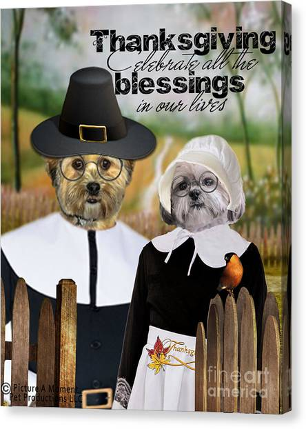 Thanksgiving From The Dogs Canvas Print