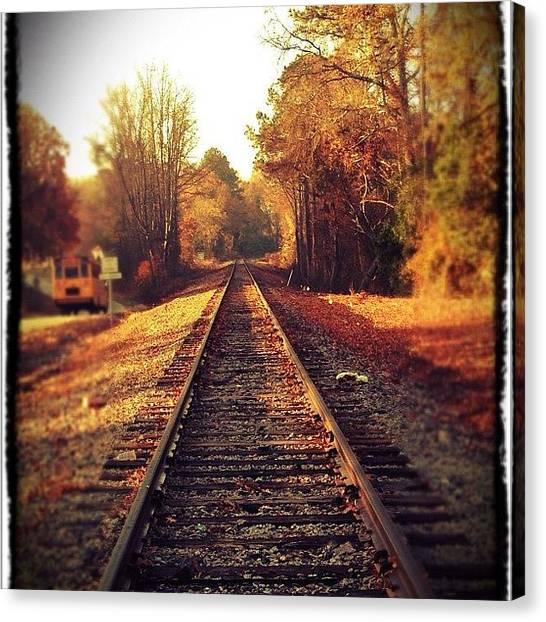 Thanksgiving Canvas Print - Thanksgiving Train Track Shot.  #nc by Brandon Warren