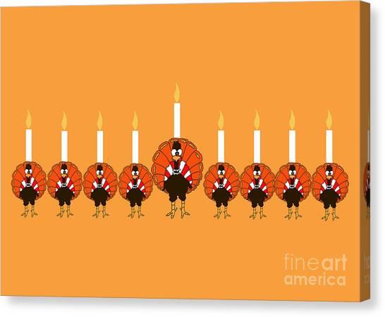 Thanksgivukkah Turkey Menorah Canvas Print