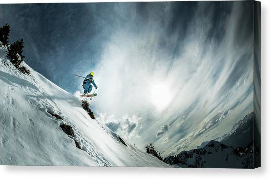 Skiing Canvas Print - Tha??o De La Soujeole At Home In Flaine by Eric Verbiest