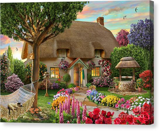 England Canvas Print - Thatched Cottage by Adrian Chesterman