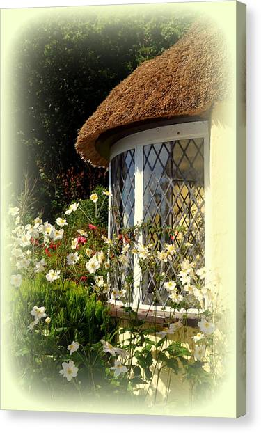 Thatched Cottage Window Canvas Print