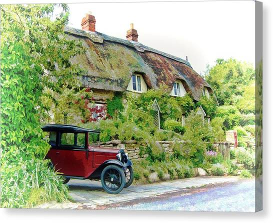 Thatched Cottages At Reybridge Canvas Print