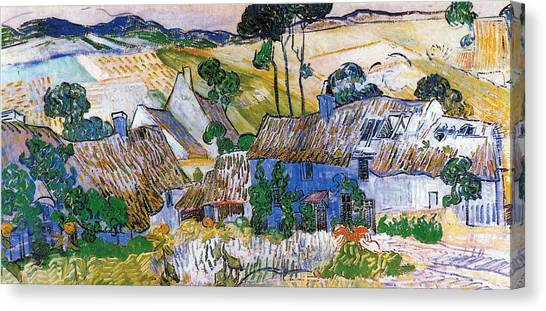 Rolling Hills Canvas Print - Thatched Houses  by Vincent Van Gogh