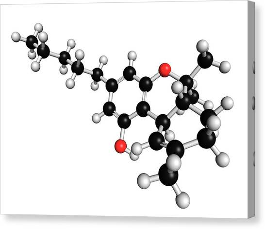 Delta Canvas Print - Thc Cannabis Drug Molecule by Molekuul