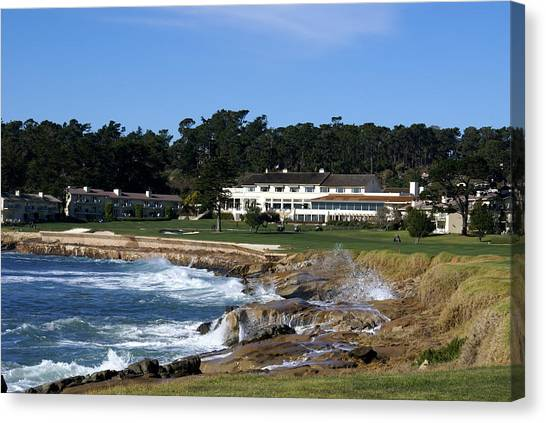 Golf Course Canvas Print - The 18th At Pebble Beach by Barbara Snyder