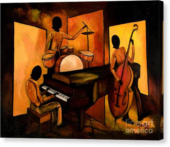Jazz Canvas Print - The 1st Jazz Trio by Larry Martin
