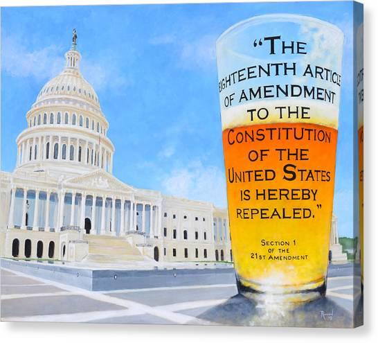 Pint Glass Canvas Print - The 21st Amendment by Glenn Ruthven