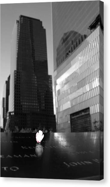 Nyfd Canvas Print - The 911 Memorial In Black And White by Dan Sproul