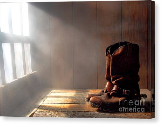 Cowboy Boots Canvas Print - The Abandoned Boots  by Olivier Le Queinec