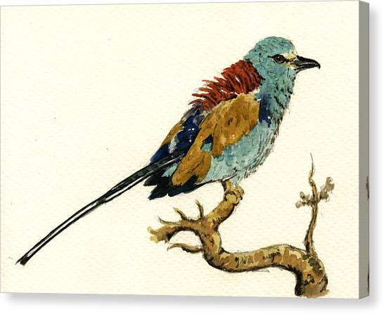Roller Canvas Print - The Abyssinian Roller Coracias Abyssinicus by Juan  Bosco