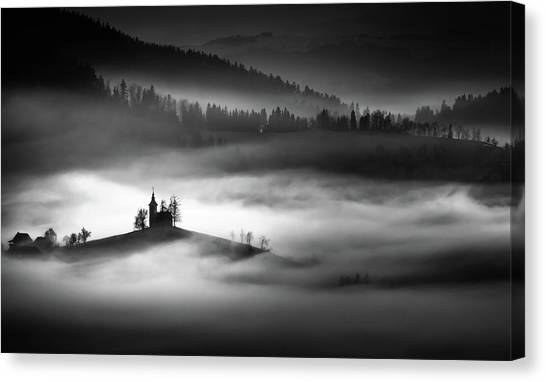 Church Canvas Print - The Addams Family Land by Sandi Bertoncelj