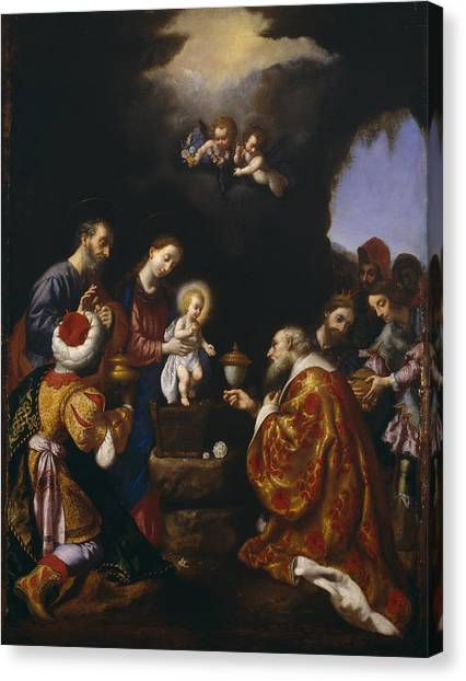 Attendant Canvas Print - The Adoration Of The Magi by Carlo Dolci