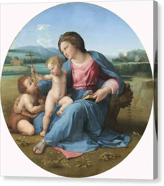 St Mary Canvas Print - The Alba Madonna by Raffaello Sanzio of Urbino