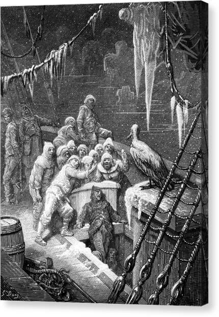 Albatrosses Canvas Print - The Albatross Being Fed By The Sailors On The The Ship Marooned In The Frozen Seas Of Antartica by Gustave Dore