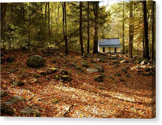 The Alfred Reagan Cabin Autumn Canvas Print by John Saunders