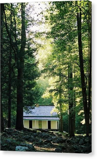 The Alfred Reagan Cabin Gatlinburg Canvas Print by John Saunders