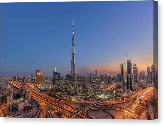 Dubai Skyline Canvas Print - The Amazing Burj Khalifah by Mohammad Rustam