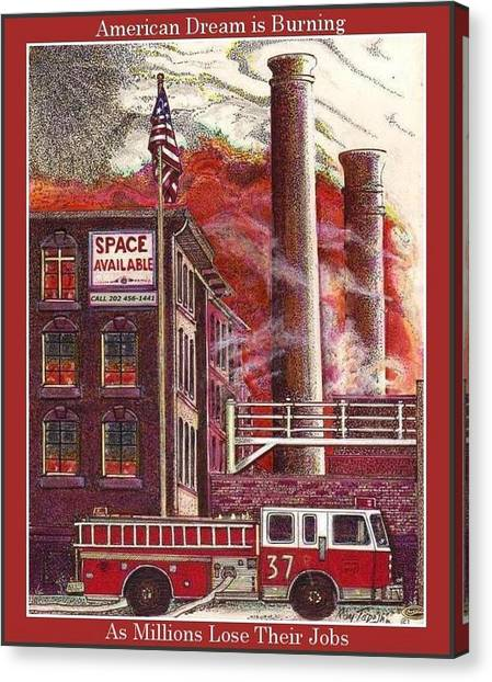 The American Dream Is Burning Canvas Print by Ray Tapajna
