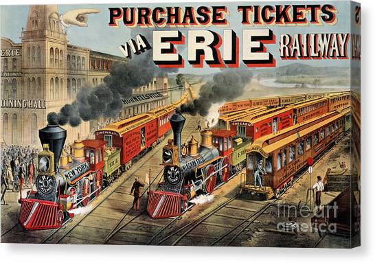 Currier And Ives Canvas Print - The American Railway Scene  by Currier and Ives