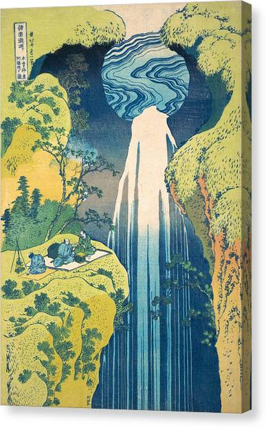 The Metropolitan Museum Of Art Canvas Print - The Amida Falls In The Far Reaches Of The Kisokaido Road by Katsushika Hokusai