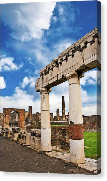 Mount Vesuvius Canvas Print - The Ancient Ruins Of Pompeii, Italy by Miva Stock
