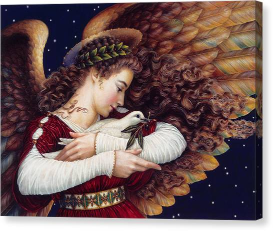 Dove Canvas Print - The Angel And The Dove by Lynn Bywaters