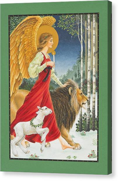 Angel Canvas Print - The Angel The Lion And The Lamb by Lynn Bywaters