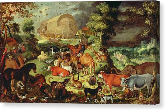 Old Testament Canvas Print - The Animals Entering The Ark by Jacob II Savery