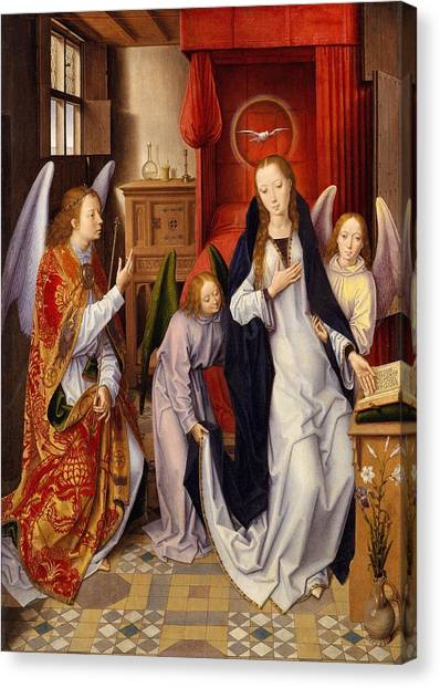 The Metropolitan Museum Of Art Canvas Print - The Annunciation by Hans Memling